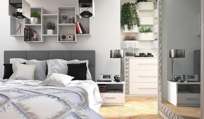 mała sypialnia w nowoczesnym stylu